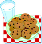 Plate Of Chocolate Chip Cookies Resting On A Red And White Chekered Table Cloth By A Glass Of Milk Clipart Illustration