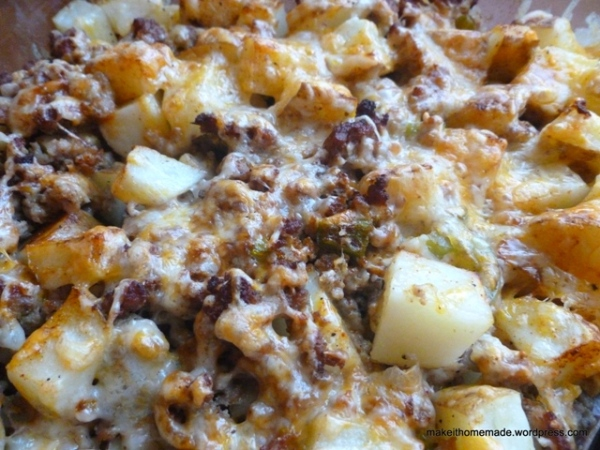 Easy Cheesy Baked Hash-browns and Sausage